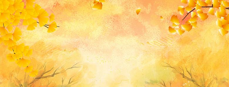 黄树林小清新文艺黄色背景