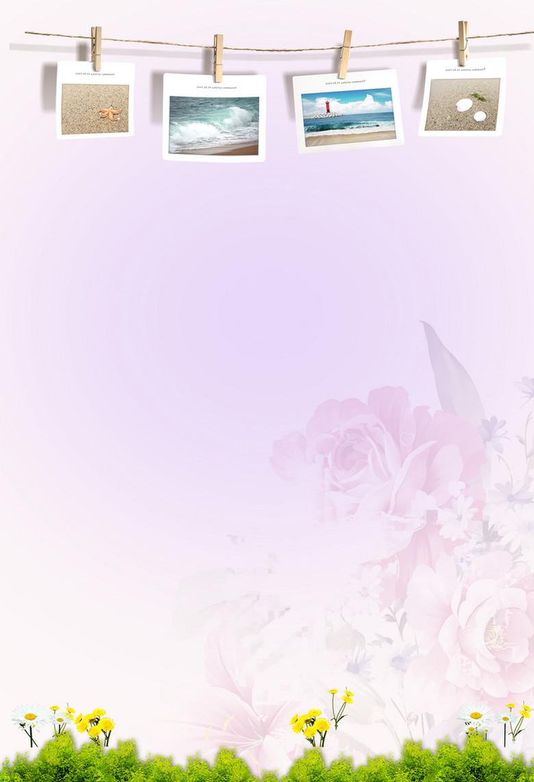 清新简约照片墙粉花绿草海报宣传背景图