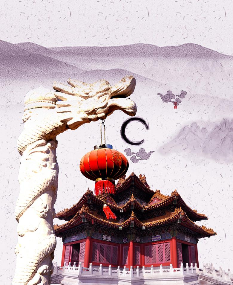 中国风盘龙柱高山褐色背景素材