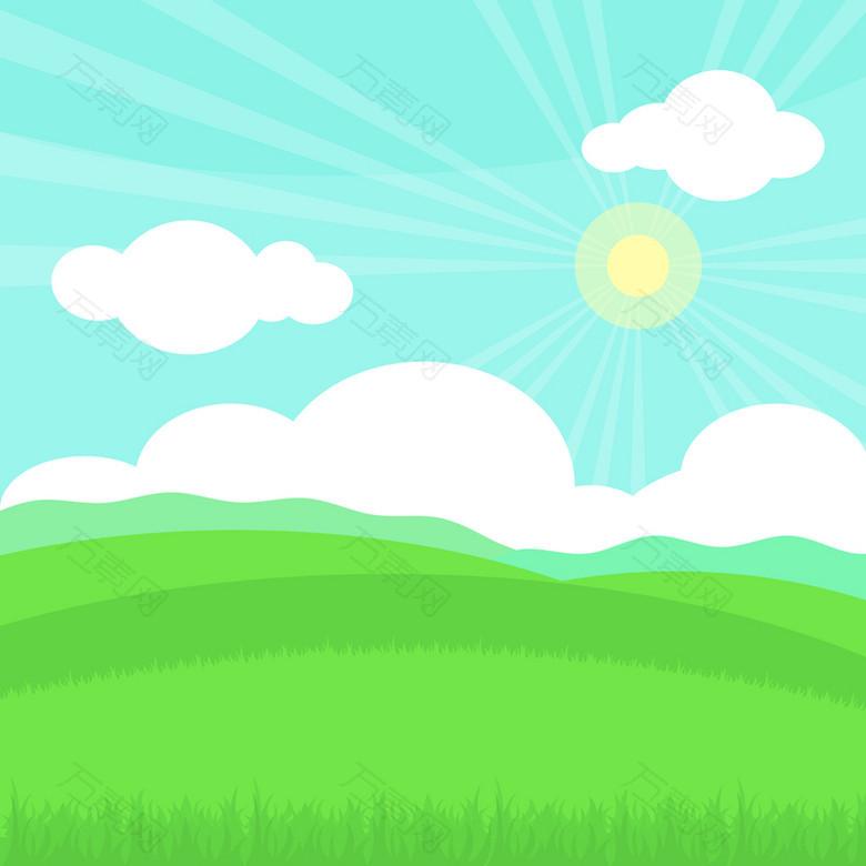 卡通小清新蓝天草地日出背景素材