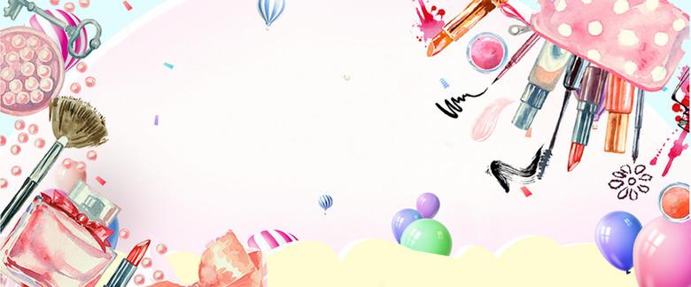 美妆节手绘热气球文艺手绘白banner
