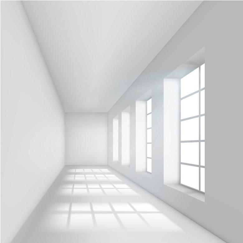3D室内窗户走廊背景