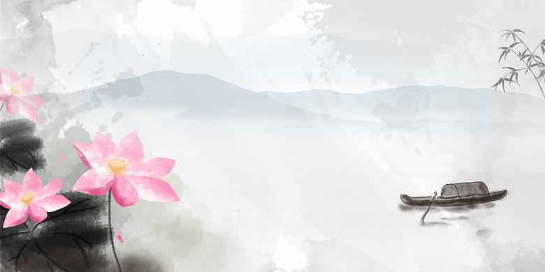 江南河流湖边荷花水墨背景