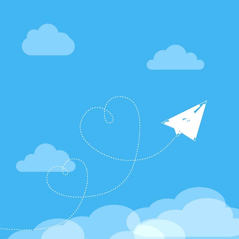 蓝色天空白云纸飞机爱心轨迹背景