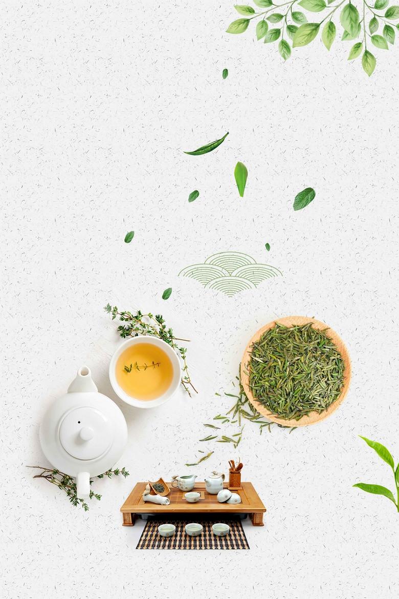 绿茶白色中国风简约大气背景