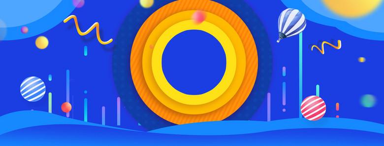 蓝色几何数码圆环热气球折线线条背景图