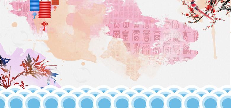 灯笼梅花竹子中国风设计水墨色海报背景