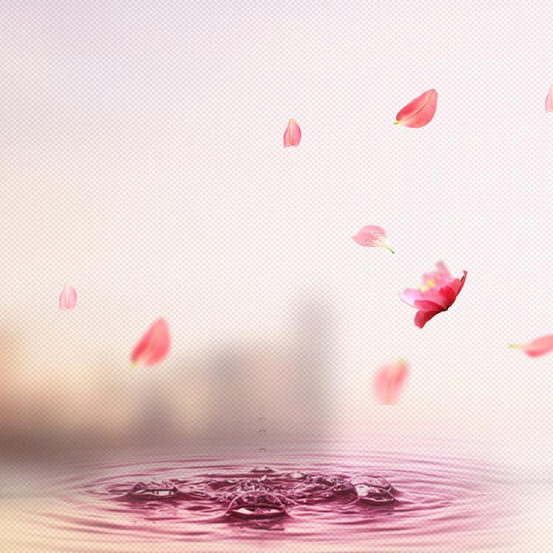 粉色水纹花瓣化妆品PSD分层主图背景素材