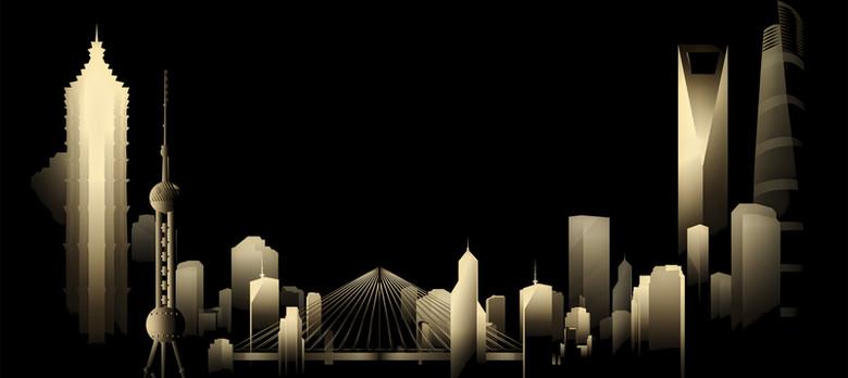 城市建筑大气剪影黑色banner