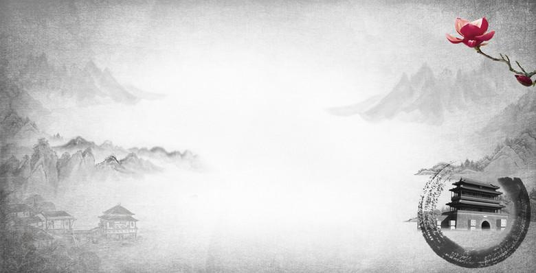 大气简单中国风质感墨点背景