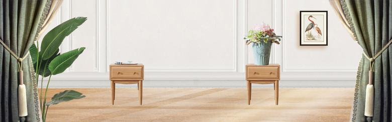 简约欧美现代风实木欧式床家具首页全屏海报