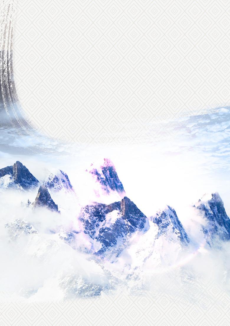 灰色大气中式云山底纹政法展板背景素材
