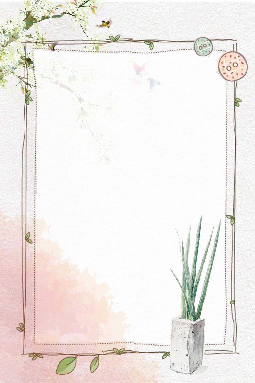 手绘白色花朵芦荟花纹边框背景