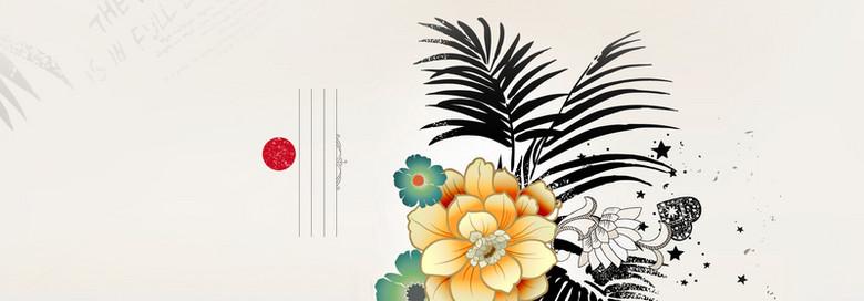 简约手绘花朵海报背景