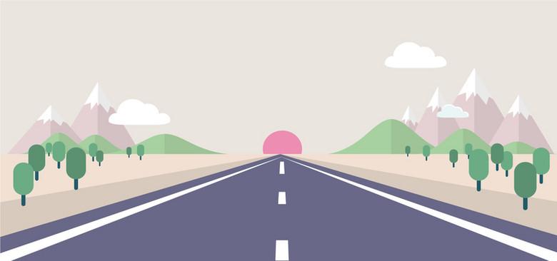 扁平化手绘透视公路