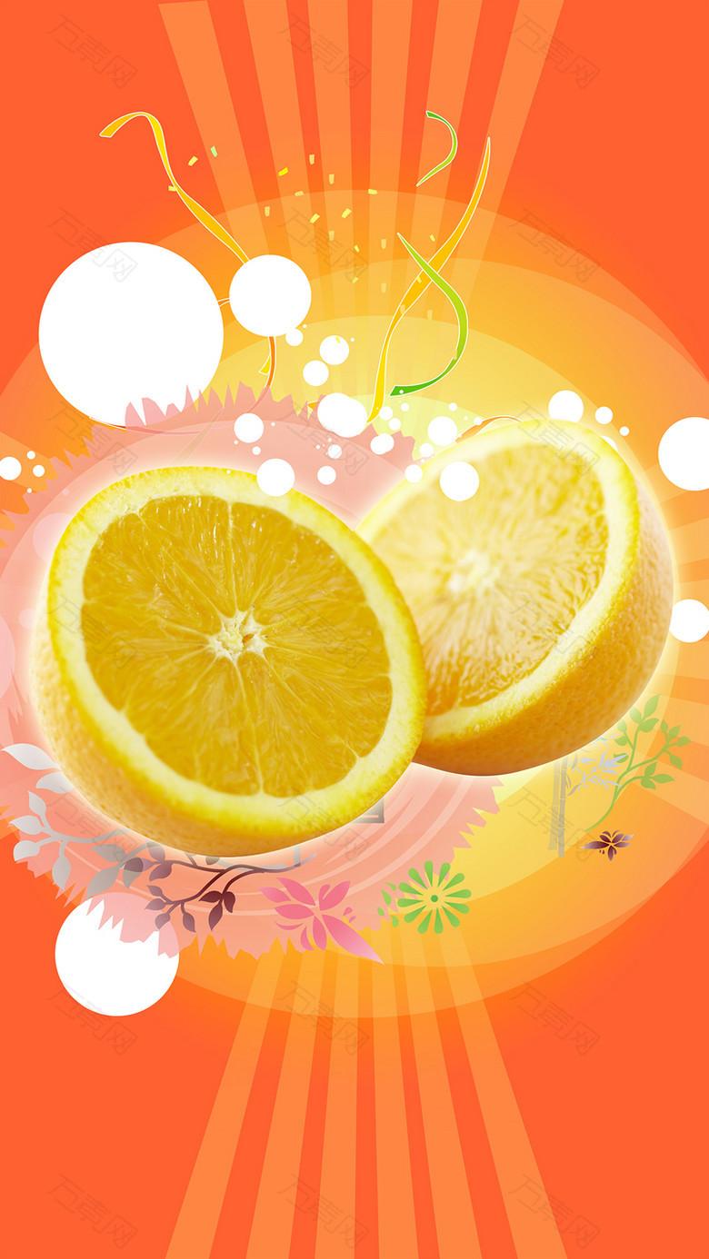 橙色水果插画海报