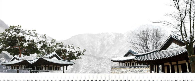 冬季雪景大气建筑白色banner