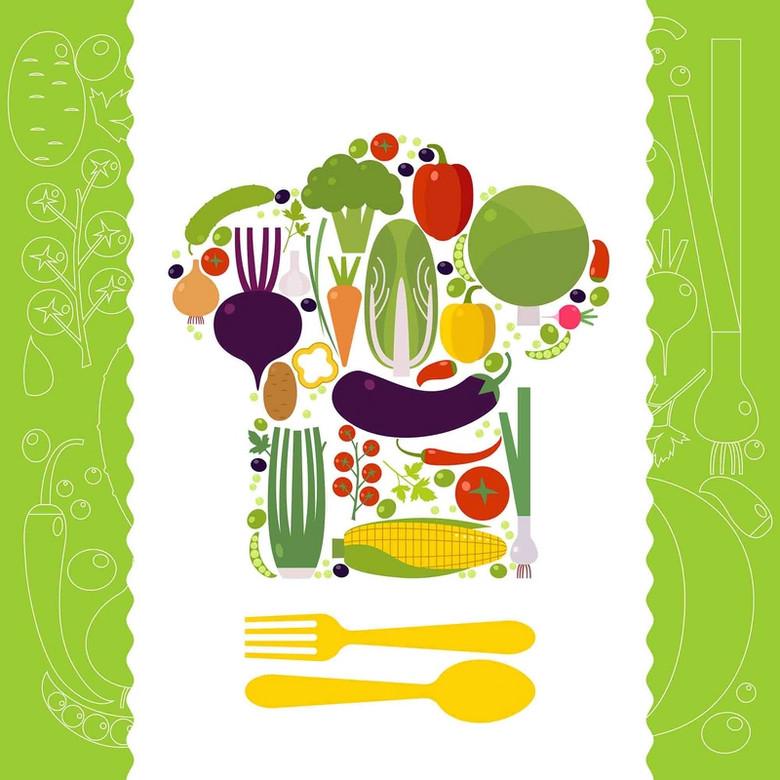 美式有机食品蔬菜专卖商店厨房绿色海报背景