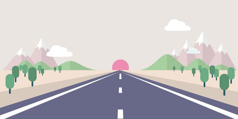 矢量扁平化手绘透视公路背景