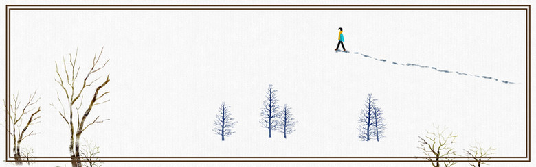 冬季雪地雪花banner海报背景