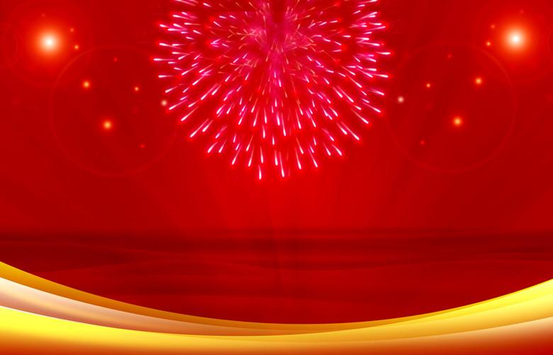 红色烟花中国风背景