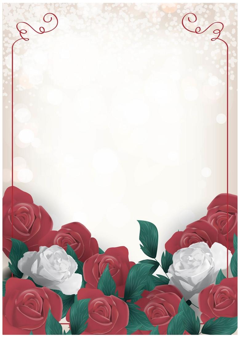 浪漫唯美爱情玫瑰花矢量背景