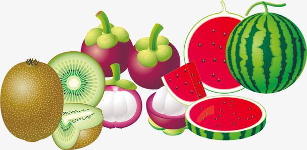猕猴桃西瓜水果PNG矢量素材
