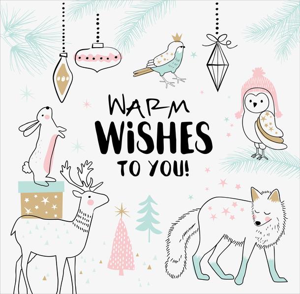 矢量手绘圣诞动物礼物背景