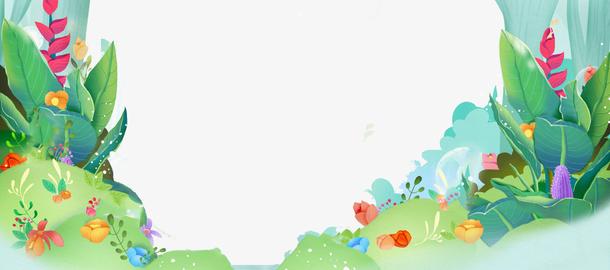 踏春出游季绿色卡通banner