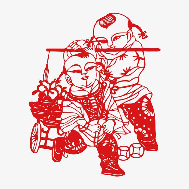 中国风福娃剪纸矢量
