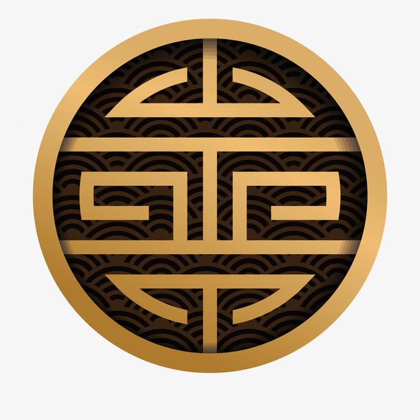 金色光泽福字标签元素