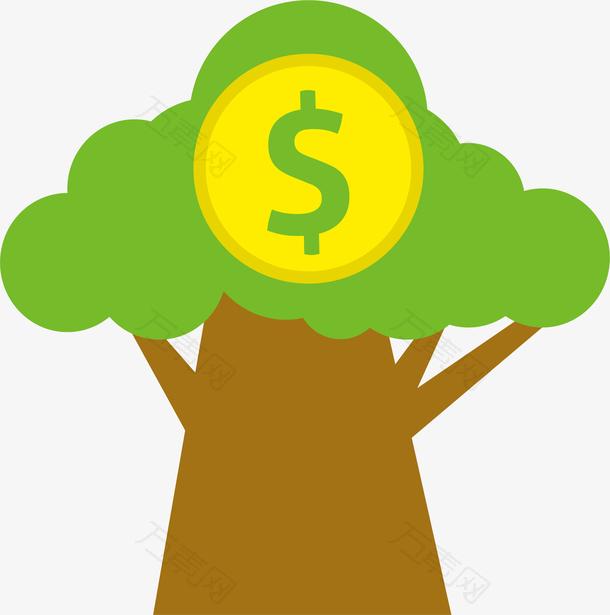 手绘财富金币树
