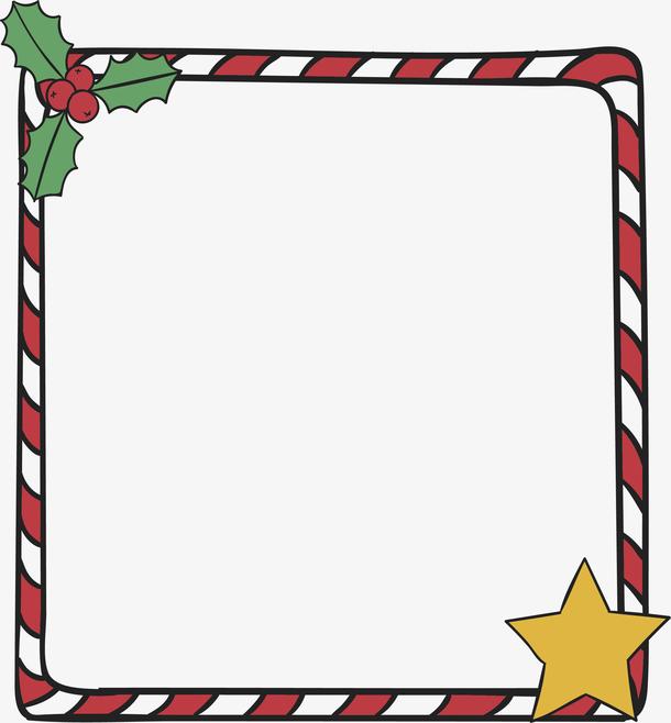 红色条纹圣诞节边框