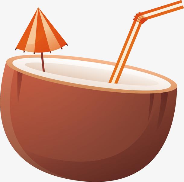夏天休闲新鲜饮料椰汁素材