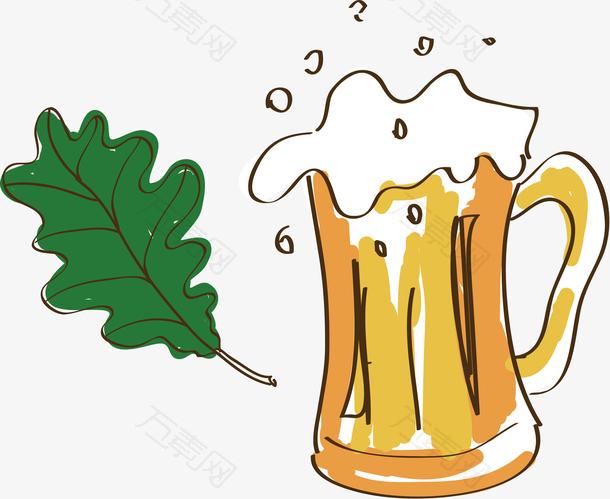 矢量手绘各个国家特色德国啤酒素