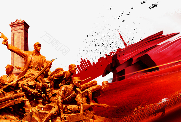 红色八一建军节展板