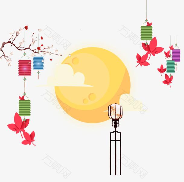 卡通月亮灯笼桃花中秋装饰背景