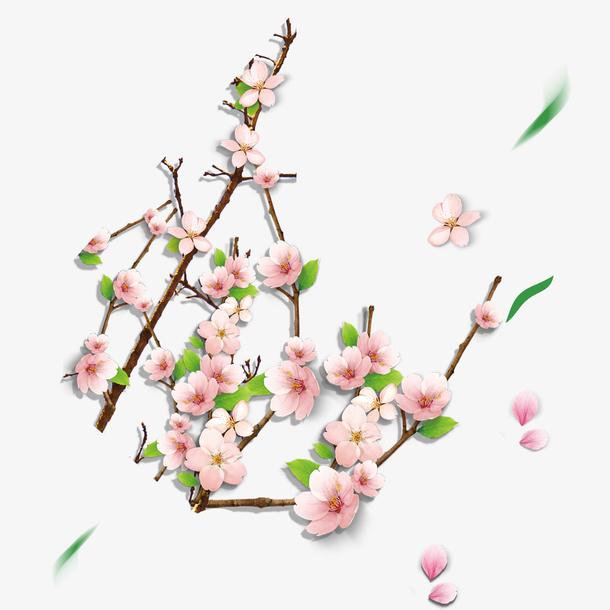 清明节水墨风桃花