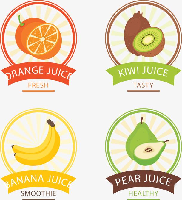 矢量手绘彩色水果标签