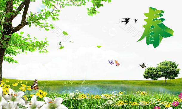春鲜花草地图片素材