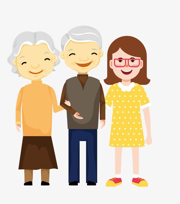 重阳节手绘幸福一家人