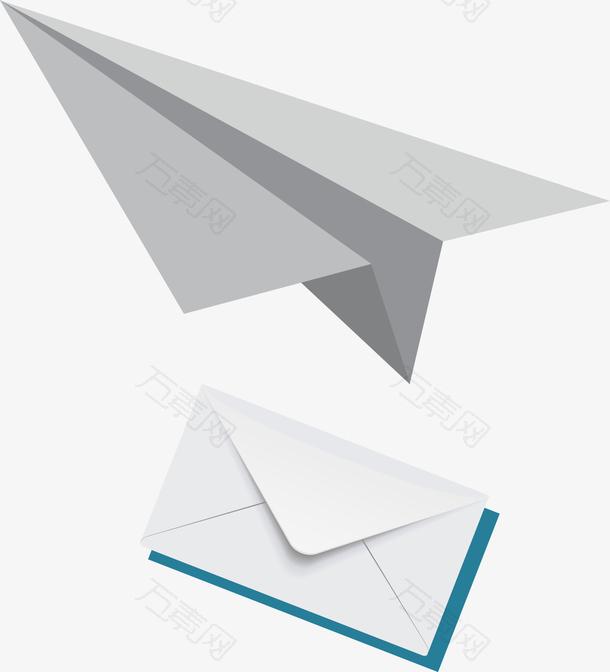 图白色的信封灰色的纸飞机