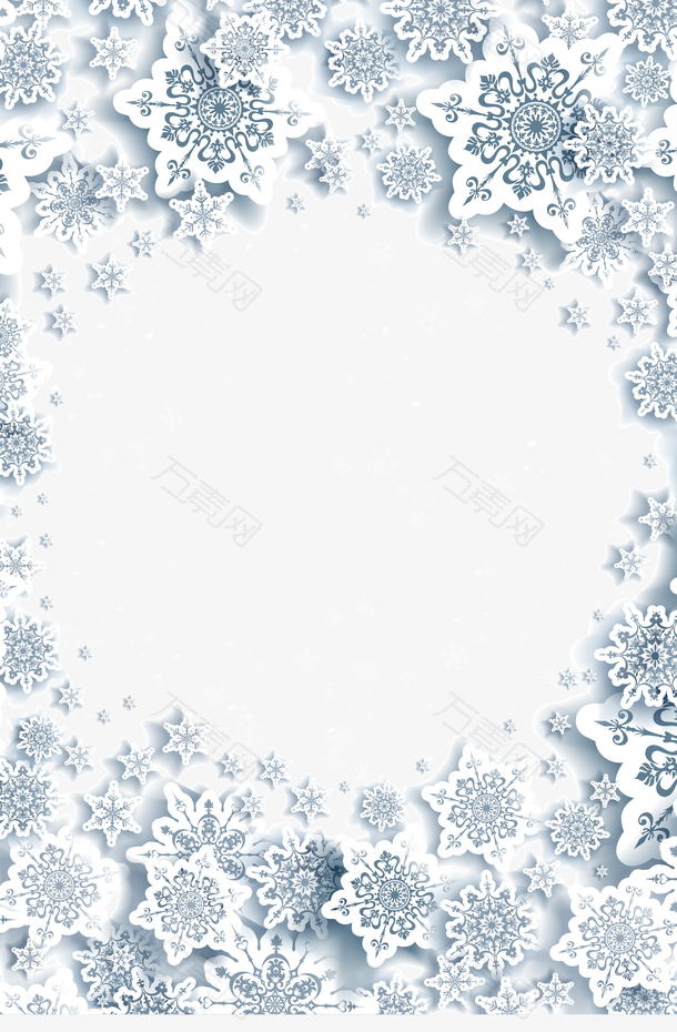 圣诞雪花装饰边框矢量素材