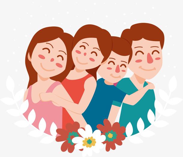 微笑的幸福家庭插画
