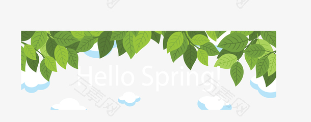 你好春天绿色树叶