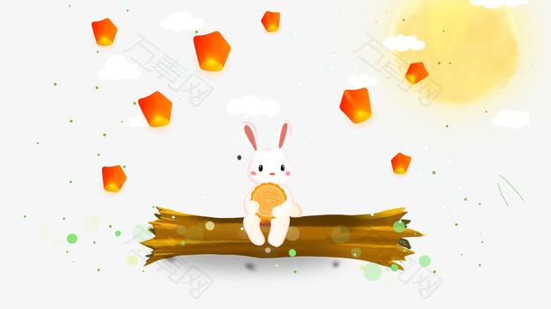 免抠卡通手绘中秋节装饰玉兔吃月