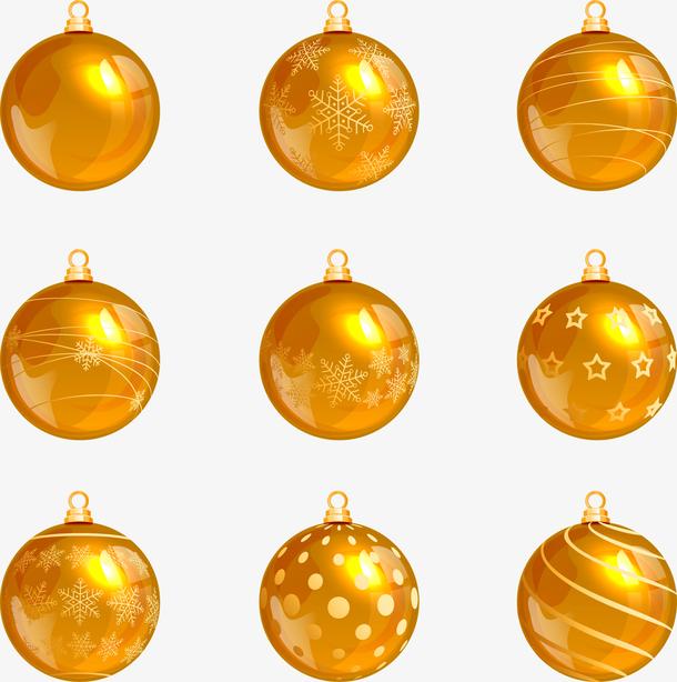 金色逼真质感圣诞挂球设计矢量素