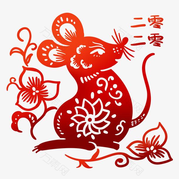 鼠年剪纸老鼠插画