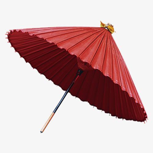 红色古风装饰雨伞装饰图