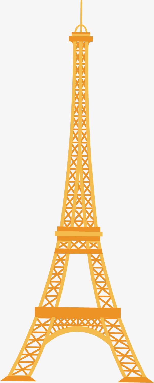 矢量图金黄色的埃菲尔铁塔